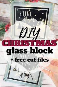 How to Decorate a Glass Block + Free Holiday Cut File Bright Christmas Decorations, Cricut Christmas Ideas, Christmas Wood Crafts, Christmas Vinyl, Christmas Signs Wood, Christmas Projects, Xmas, Painted Glass Blocks, Decorative Glass Blocks