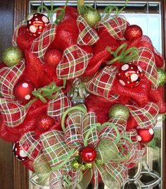 RED, WHITE and GREEN Deco Mesh Christmas Wreath with Plaid and Polka Dots