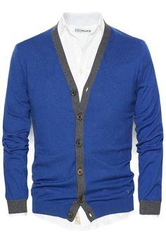 Contrast cotton cashmere-blend cardigan
