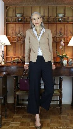 classic fashion over 50 talbots cardigan black cropped pants janis lyn johnson delivers online tools that help you to stay in control of your personal information and protect your online privacy. Black Cropped Pants, Black Cardigan, Wide Leg Pants, Cotton Cardigan, Long Pants, Wide Legs, Fashion For Women Over 40, 50 Fashion, Trendy Fashion