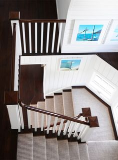 dark/ white contrast of banister, stairs and board---House of Turquoise: Allison Caccoma
