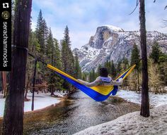 Think hammocks aren't practical for camping? That you can only use them when it's warm? Afraid to try spending the night in one because you think you'll fall out? Our friends @serachammocks bust these and other myths on the blog this week (clickable link in my profile). Happy adventuring this weekend!  #Repost @serachammocks with @repostapp original by @jessgrambau exploring the wintery Yosemite National Park with her Serac Hammock. #hammock #hammocking #hammocklife #hikerchat #fyp…
