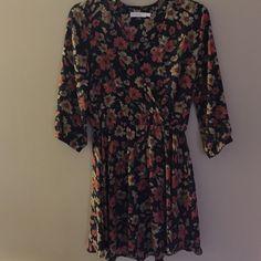 3/4 sleeve dress Floral printed waisted dress Lush Dresses