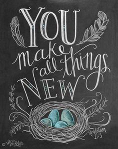 Items similar to Spring Art - Easter Print - Birds Nest - Robins Egg Blue Decor - Chalk Art - You Make All Things New - Feather Illustration - Scripture Art . Chalkboard Lettering, Chalkboard Designs, Chalkboard Ideas, Chalkboard Fridge, Chalkboard Drawings, Chalkboard Quotes, Kitchen Blackboard, Chalkboard Doodles, Chalkboard Printable