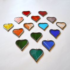 A small token of your love and affection - Hanging Hearts make great gifts for family, friends, bridesmaids or attendants. £10 from Radiance Stained Glass.