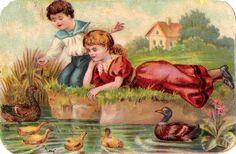 Oblaten Glanzbild scrap die cut chromo Kind child Enten füttern ducks chocolate at.picclick.com