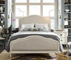 Amity French Oak Upholstered Queen Panel Bed - White | Zin Home