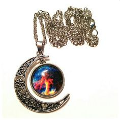 Crescent Moon Necklace Crescent Moon Galaxy Necklace Jewelry Necklaces
