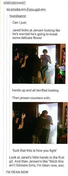 Made funnier by the fact Jensen recently kicked in his hotel room door in Quebec.