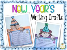 Free New Year's Writing Craft  Writing is something that so many students have a hard time getting excited about so I love using activities that get them engaged! These cute writing crafts are not only a great way to encourage writing but they are also great for decorating your classroom! Visit my blog HERE to get access to these free New Year's writing crafts.    3-5 K-2 Mrs. Thompson's Treasures New Year's Activities New Year's writing prompt writing activities