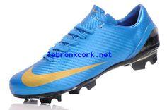 2013 Nike Mercurials S Blue Goldl Carbon Fibre Limited Edition Fg Cleats