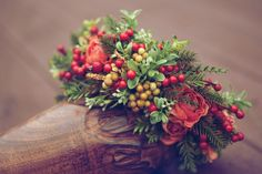 Winter greens, red berries peach colors / Whippoorwill Nest Boutique