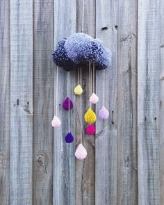 Look for the cute or pretty like this pom pom rain cloud decoration, when you ar… – DIY…. Look for the cute or pretty like this pom pom rain cloud decoration, when you ar… – DIY…. Cute Crafts, Yarn Crafts, Crafts To Make, Craft Projects, Crafts For Kids, Projects To Try, Arts And Crafts, Kids Diy, Crafts With Wool