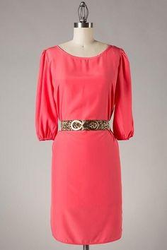 Coral belted scoop back dress, $43.00