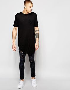 Image 4 of River Island Asymetric Drape T-Shirt In Black Men Closet, Fashion Books, Cool T Shirts, River Island, Chelsea Boots, Fashion Online, Hipster Boys, Vintage Outfits, Asos