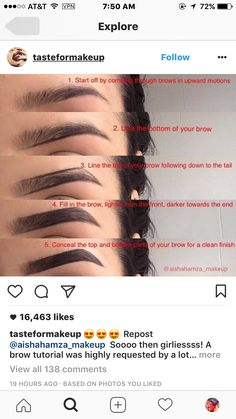 😍😍😍 Repost Soooo then girliessss! A brow tutorial was highly requested by a lot of yous ✨Hope this helps you💖 I used dipbrow pomade in Ebony and angled brush to apply it , I also used creamy concealer in Vanilla 💖💕💝 Eyebrow Makeup Tips, Eyebrow Tinting, Makeup Guide, Skin Makeup, Makeup Brushes, Eyebrow Pencil, Makeup Remover, Makeup Eyeshadow, Eyeshadow Palette