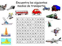 Encuentra los siguientes  medios de transporte: B I C I C L E T A M B A V A G A…