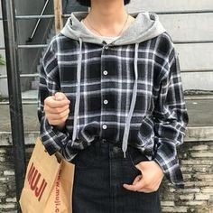 Women Tops 2018 Autumn Korean Casual Preppy Style Plaid Hooded Long Sleeverricdress - Blouses & Shirts for Women blouse summer blouse style blouse ideas Hooded Long Sleeve Shirt, Long Sleeve Shirts, Hooded Sweater, Preppy Outfits, Preppy Style, Plaid Outfits, Grunge Style, Korean Outfits, Grunge Outfits