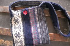Recycled, Reconstructed, Upcycled Sweater Bag, Felted Wool, Blue, for Tablet or E Reader