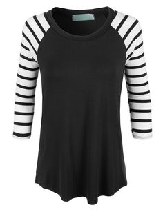 LE3NO Womens Loose Round Neck Striped Raglan Sleeve Baseball T Shirt