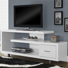 Monarch 60 in. Horizontal/Vertical Etagere / TV Console - Life is way more fun with you have options. Thankfully, the Monarch 60 in. Horizontal/Vertical Etagere / TV Console gives you plenty of room to. Living Room Tv, Living Room Furniture, Home Furniture, Family Furniture, Furniture Outlet, Cheap Furniture, Discount Furniture, Tv Regal, Tv Shelf