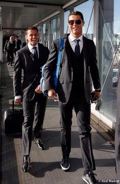 Soccer players in suits >>