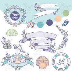 Instant Download: Sea wreath clipart / Sea banner / Hand drawn