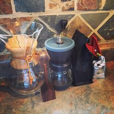 I traded my #Kuerig for this set up and won't be looking back. Superior coffee takes up less counter space and should last forever. #chemex #hario #housescoop #sump #sumpcoffee #coffeeaddict #liveslow http://ift.tt/20b7VYo