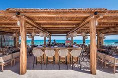 Mitsis Rinela Beach Resort & Spa, created by Elastic Architects, provides a sunset laden beach haven unlike any other - Home Revolution Tropical Beach Resorts, Beach Cabana, Beach Hotels, Strand Design, Khao Lak Beach, Lamai Beach, Beach Haven, Outdoor Restaurant, Beach Resorts
