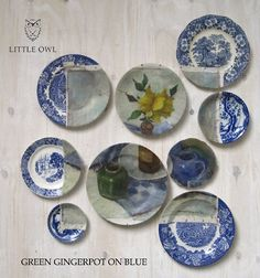 This is so cool! Could probably do something like this painting my own pottery.. much simpler designs, of course. It would be cool to make a set that creates a picture or connects with each other when you put them all on the table for eating. COMPLICATED but a cool idea.. #pottery