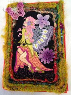 Fabric postcard Fairy  Fabric Postcard Handmade  by Fiberartplus, $12.00