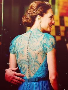 back of princess kate's teal jenny packham gown. so pretty!