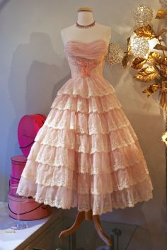 50's Dress // Vintage 1950's Pretty Pink Tiered by xtabayvintage, $298.00