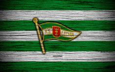Download wallpapers Lechia Gdansk, 4k, Ekstraklasa, wooden texture, football, Poland, Lechia Gdansk FC, soccer, football club, FC Lechia Gdansk