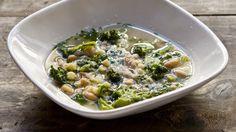 Broccoli and bean soup with pecorino