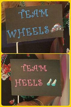 Wheels or Heels Gender Reveal Party Idea DIY photo booth prop
