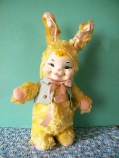 Vintage Rushton Easter Bunny with Rubber Face by SongbirdSalvation
