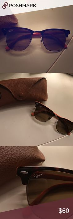 Custom Ray Ban Clubmasters Brand new condition, worn one time. Custom made with an orange interior. Includes original case. Brown lenses with glossy tortoise frame! Ray-Ban Accessories Sunglasses