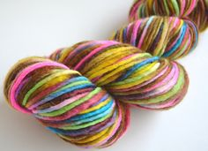 Hand dyed single ply Blue Faced Leicester roving yarn multicoloured British wool multicolored knitting supplies by ILovePinkGeraniums on Etsy https://www.etsy.com/listing/207852365/hand-dyed-single-ply-blue-faced
