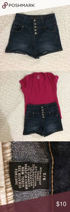 Rue 21 shorts 5/6 Rue 21 jean high waisted shorts with buttons. Size 5/6. Worn only a few times. Like new!! Rue 21 Shorts Jean Shorts