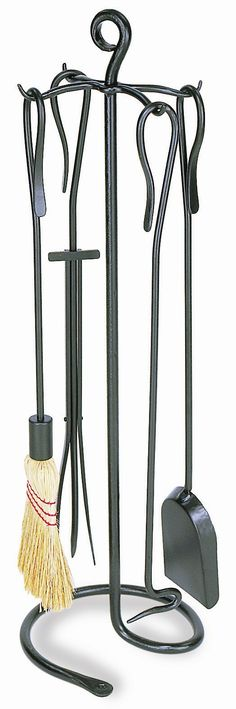 Features:  -Material: Wrought iron.  -Shepherd's hook design.  -Set includes stand, poker, brush, shovel and tongs.  -Finish: Graphite powder coated.  Product Type: -Fireplace tool.  Finish: -Graphite