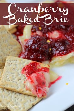 Holiday Cranberry Baked Brie is the perfect holiday appetizer! Only takes 20 minutes to cook up, and looks and tastes amazing!