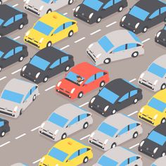 In July I spent a month in Los Angeles where I animated a new GIF every day for 30 days inspired by something that happened during my stay. See all the looping… Animiertes Gif, Animated Gif, Sunderland, Car Animation, Freight Transport, Ville New York, Les Gifs, Isometric Design, Motion Design