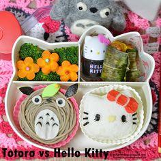 Karenwee's Bento Diary: Bento2014#Dec03~Totoro vs Hello Kitty