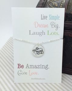 Be Amazing necklace small silver hand stamped charm by doodlebead