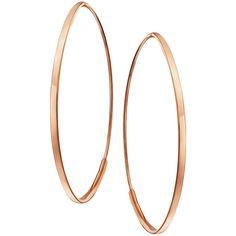Lana Small 14K Flat Oval Magic Hoop Earrings ($320) ❤ liked on Polyvore featuring jewelry, earrings, jewelry earrings, white gold, white gold hoop earrings, flat earrings, rose jewellery, 14k hoop earrings and 14 karat gold earrings