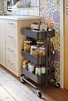 IKEA hacks for your kitchen. Easy DIY hacks for your kitchen using IKEA Portable Kitchen Cabinets, Kitchen Ikea, Diy Kitchen Storage, Ikea Storage, Pantry Storage, Kitchen Furniture, Storage Ideas, Organization Ideas, Storage Cart