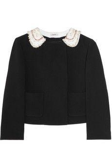 Miu Miu|Embellished-collar cady cropped jacket|NET-A-PORTER.COM - StyleSays