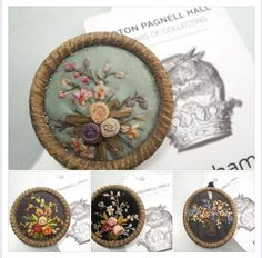 Ribbon embroidered buttons made into brooches. There is good discussion about these button, so click through.From The Three Musketeers from Paris on FACEBOOK. #buttonlovers