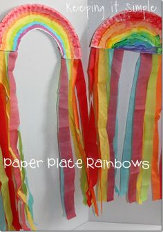 St. Patricks Day Kids Craft: Paper Plate Rainbows #stpatricksday #kidscraft #rainbows #keepingitsimple